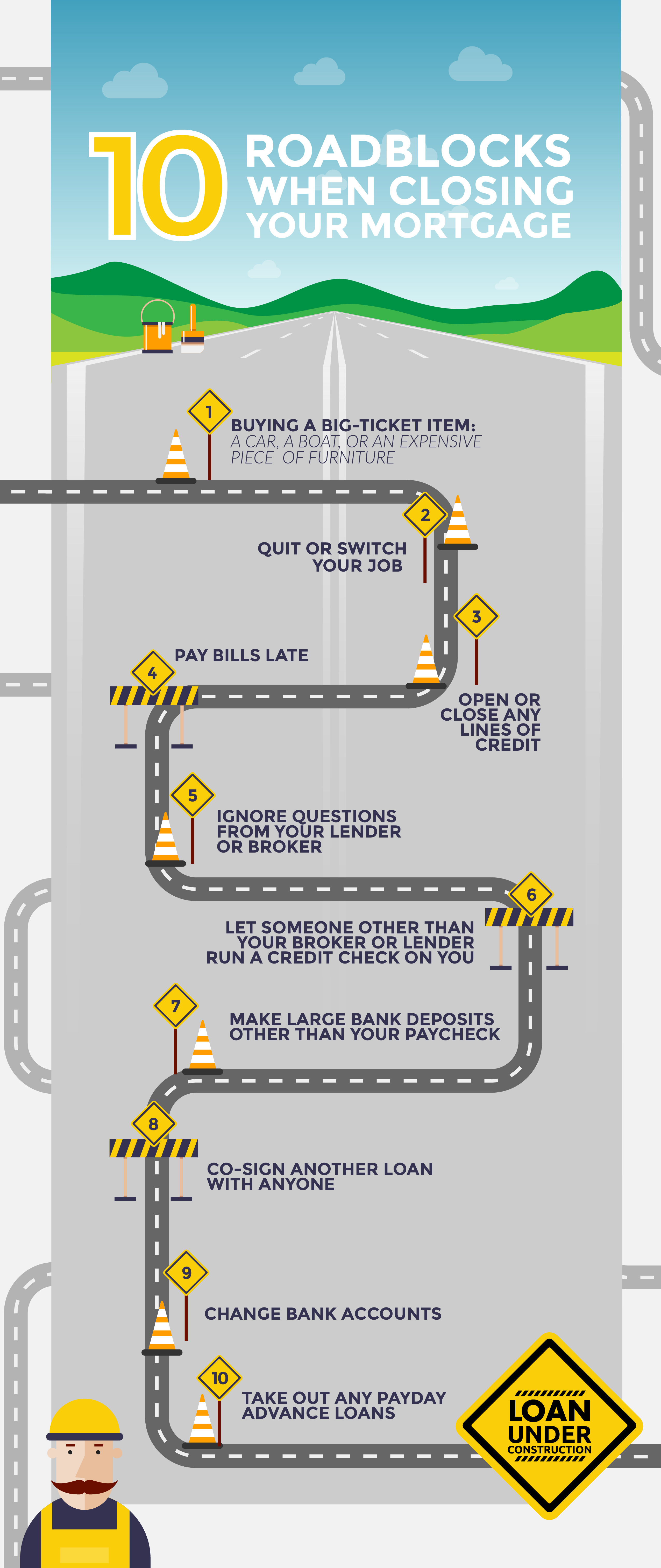 Infographic - 10 roadblocks when closing your mortgage